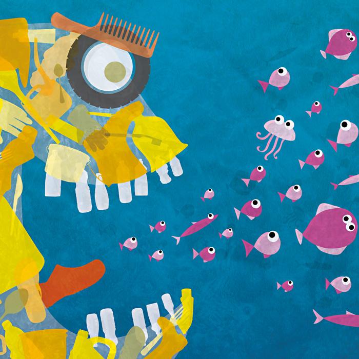 Plakat Müll im Meer | MELUR, Schleswig-Holstein, Ministerium für Energiewende, Landwirtschaft, Umwelt und ländliche Räume