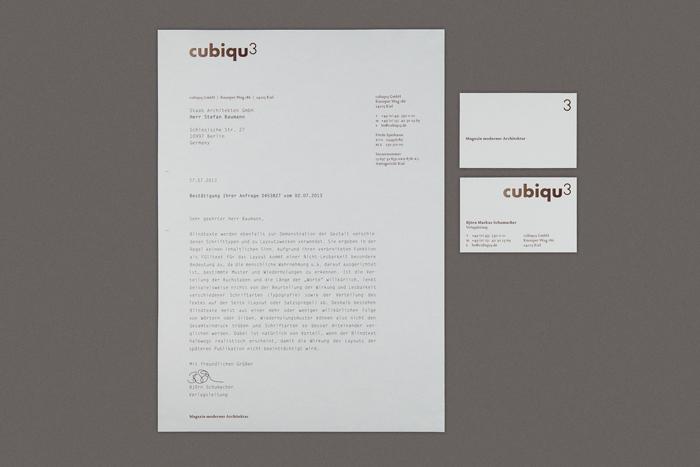 cubiqu3 | Architektur Magazin Logo, Briefbogen, Visitenkarte, Semesterprojekt Typografie Muthesius Kunsthochschule Kiel